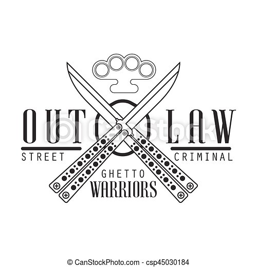 Criminal outlaw street club black and white sign design vector criminal outlaw street club black and white sign design template with text crossed butterfly knives and brass knuckles monochrome vector emblem with ghetto sciox Gallery