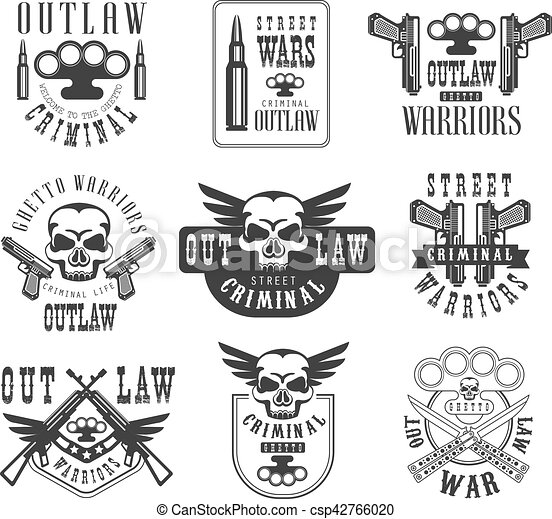 Criminal Outlaw Street Club Black And White Sign Design Templates