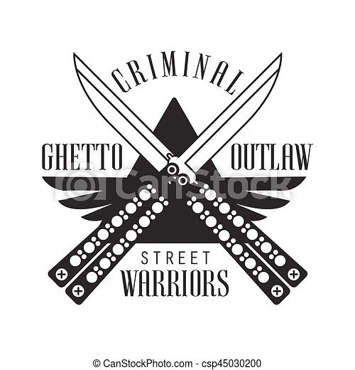 Criminal outlaw street club black and white sign design vector criminal outlaw street club black and white sign design template with text and crossed butterfly knives sciox Gallery