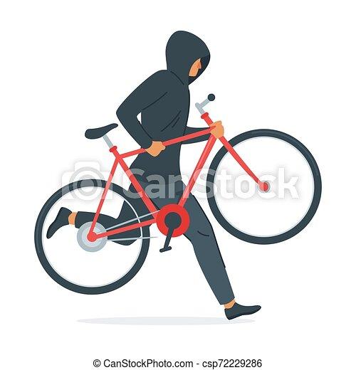 Criminal, vetorial, bicicleta, ilustração, roubando. Bicicleta, fundo,  character., ladrão, roubo, desenho, partir, roubando,   CanStock