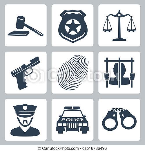 criminal/police, vecteur, ensemble, isolé, icônes - csp16736496
