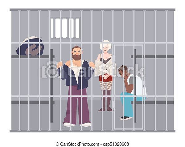 Criminals in cell at police station or jail. Prisoners locked up in room with metal grid. Offenders or arrested people in detention center. Flat cartoon characters. Colorful vector illustration. - csp51020608