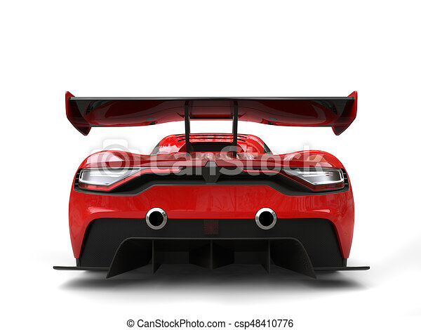 Crimson Red Beautiful Race Sports Car   Back View   Csp48410776