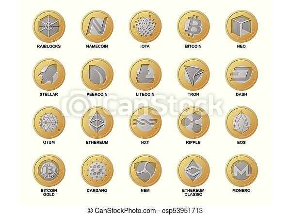 Cripto Logo Coins Different Gold Silver Coins Blockchain