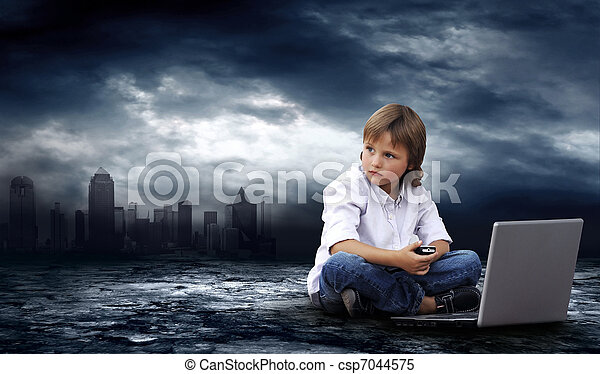 Crisis in world. Boy with laptop on dark sky with lightning  - csp7044575