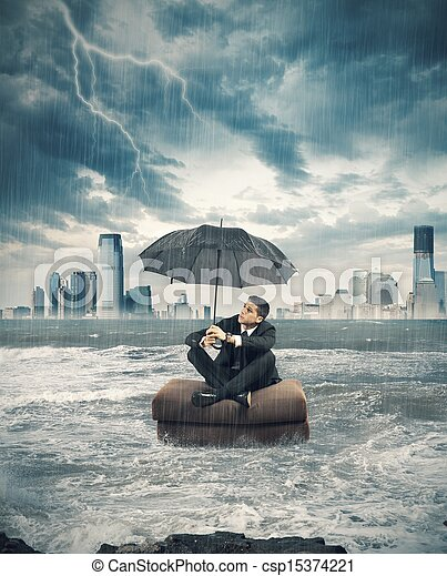 Crisis storm in business - csp15374221