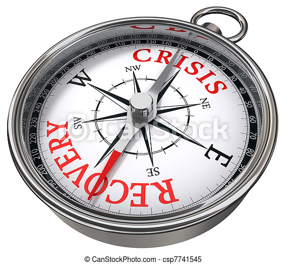 crisis vs recovery concept compass - csp7741545