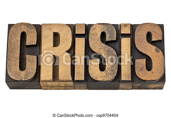 crisis word in vintage wood type - csp9704404