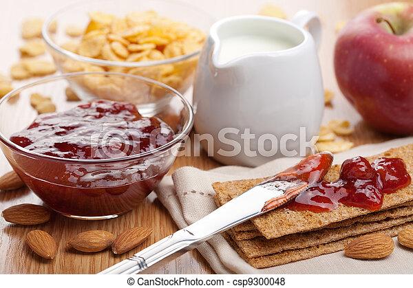 crisp bread with jam for breakfast  - csp9300048