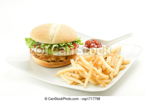 crisp chicken burger with tomato onion cheese lettuce - csp1717798