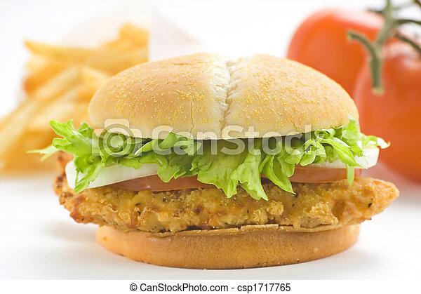 crisp chicken burger with tomato onion cheese lettuce - csp1717765
