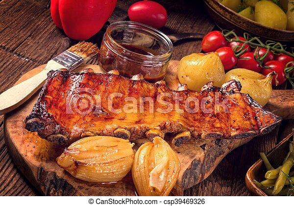 Crisp grilled ribs - csp39469326