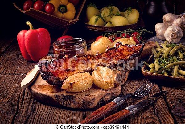 Crisp grilled ribs - csp39491444