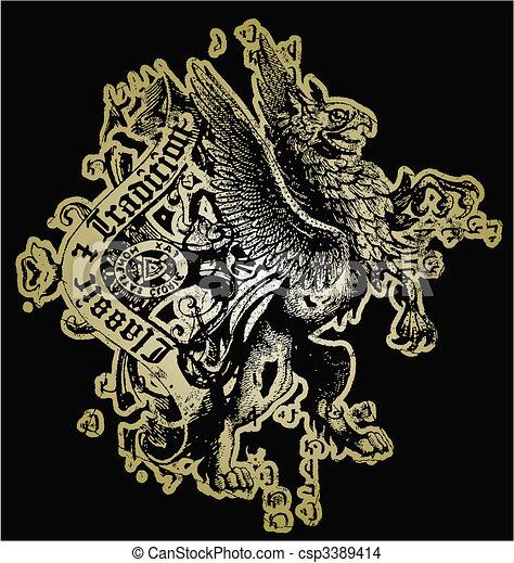 crista, leão, desenho - csp3389414
