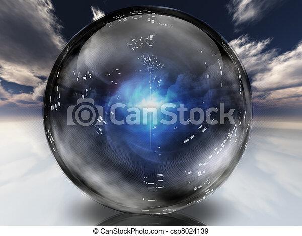 cristal, énergie, dans, sphère, contenu, mystérieux - csp8024139