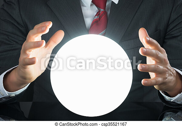 cristal, primer plano, pelota, hombre de negocios, mano - csp35521167