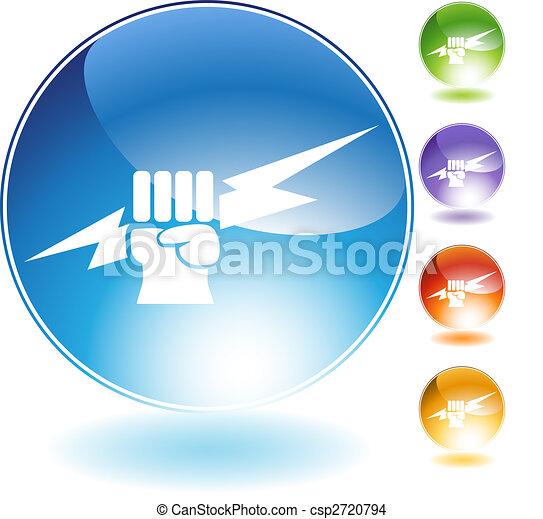 cristal, relampago, punho, ícone - csp2720794