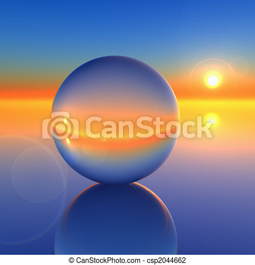 Bola de cristal abstracta en futuro horizonte - csp2044662