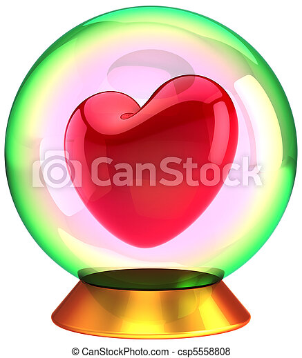 cristallo, innamorato, amore, globo - csp5558808