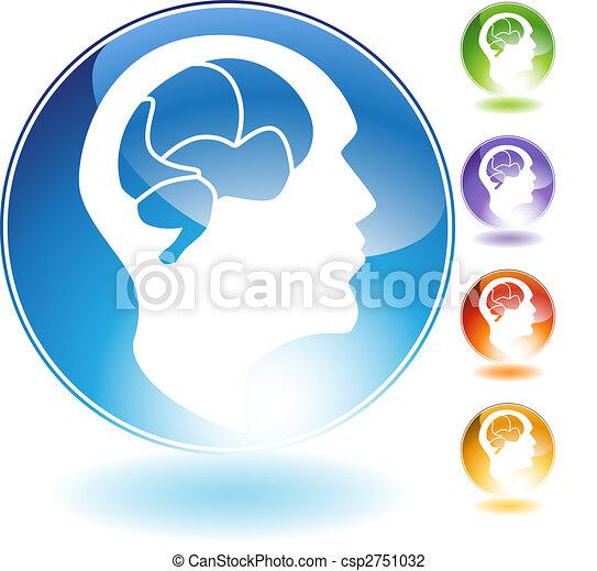 cristallo, mente, umano, icona - csp2751032