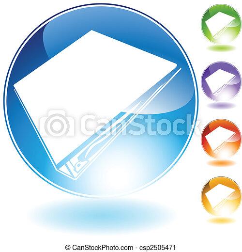 cristallo, rilegatore, icona, anello, tre - csp2505471