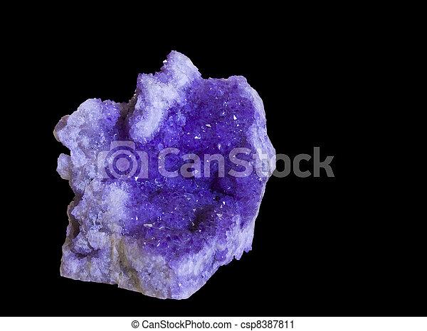 cristallo, sopra, nero, ametista, fondo - csp8387811