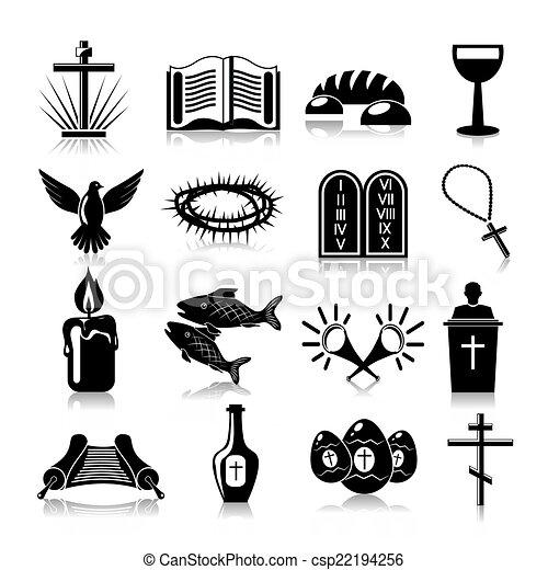 cristianismo, jogo, pretas, ícones - csp22194256