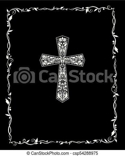 Título con la cruz floral de Christian ornato y marco antiguo. Blanco y negro - csp54288975