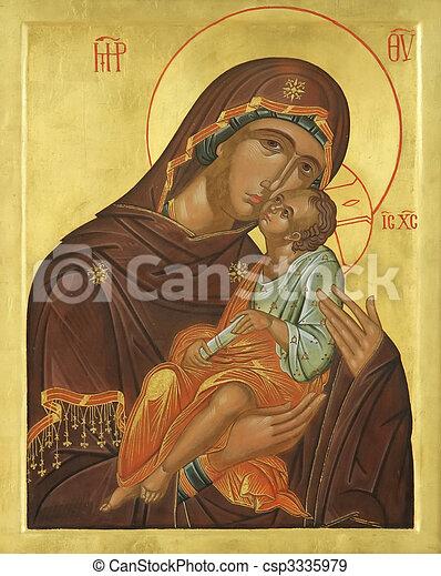 icono de madera de la virgen María Jesucristo - csp3335979