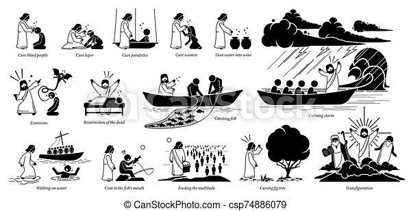 Cristo, iconos, pictogram., milagros, jesús. Vuelta, coger, agua ...