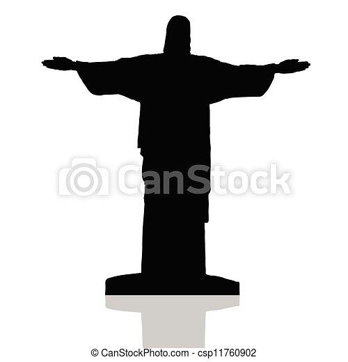 Estatua de Cristo el redentor en Río de Janeiro vector - csp11760902