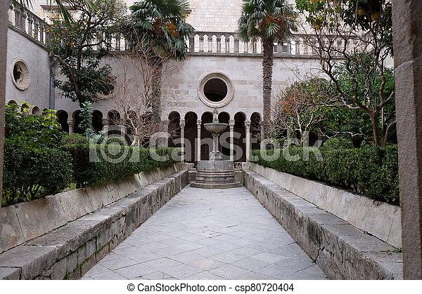 croatia, 回廊, dubrovnik, 修道士, マイナー, 修道院, franciscan - csp80720404