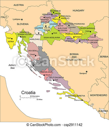 Croatia, Administrative Districts, Capitals - csp2911142