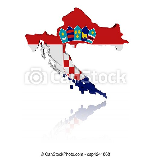 Croatia map flag with reflection - csp4241868