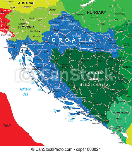 Croatia map. Highly detailed vector map of croatia with ...