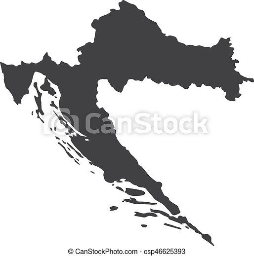 Croatia map in black on a white background. vector illustration.