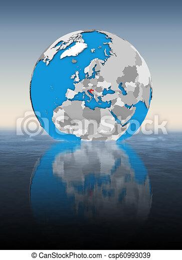 Croatia on globe in water - csp60993039