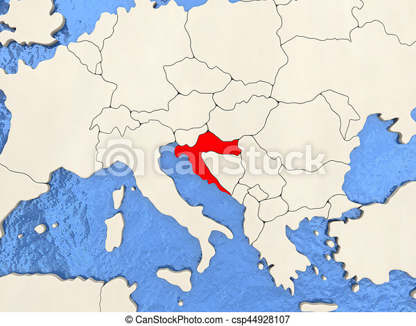 Croatia on map Croatia in red on political map with watery stock