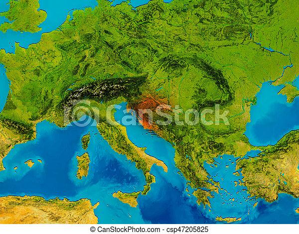 Croatia on physical map - csp47205825