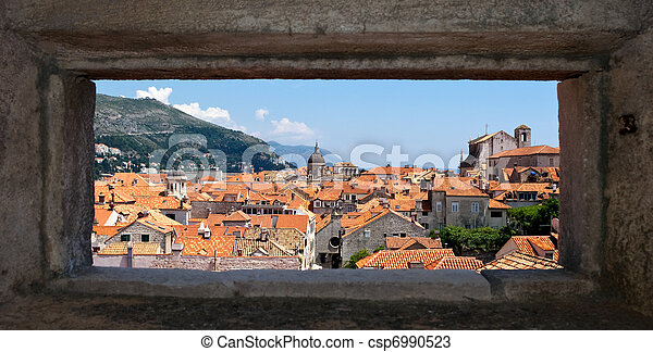 Croatian Dubrovnik with natural frame - csp6990523