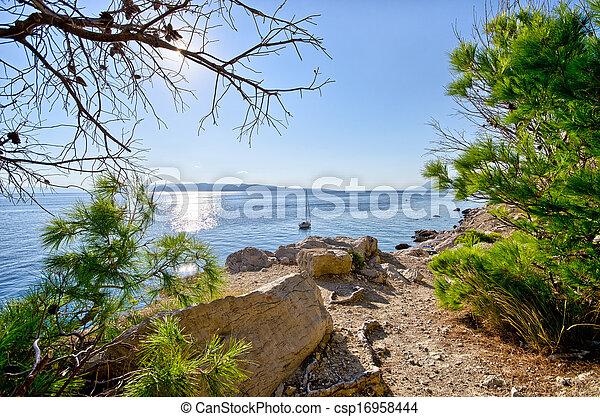 Croatian seashore with rocks - csp16958444