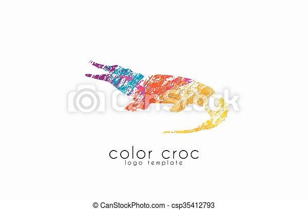 Croc., farbe, krokodil, tier, logo, logo., design. EPS Vektoren ...