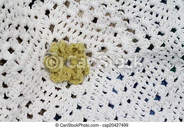 Crochet Flower On White Crocheted Flowers On A White Afghan Crochet