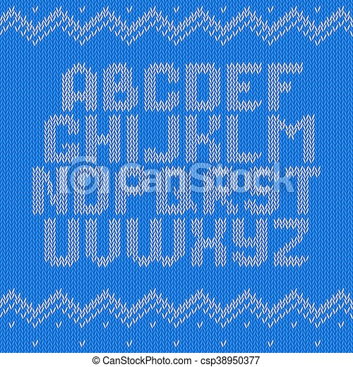 Crochet Font Knitted Ornament Knitted Alphabet On Blue Background
