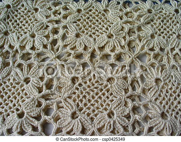 Crochet Lace Pattern Of Vintage Crocheted Lace In An Ecru Color