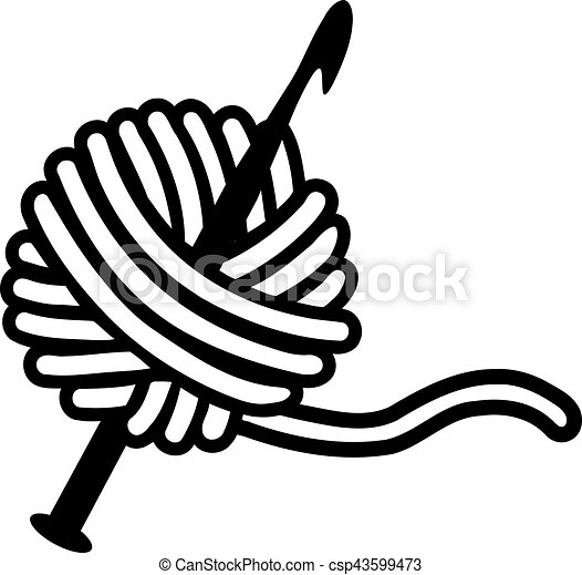 crochet needle with wool vectors illustration search clipart rh canstockphoto com