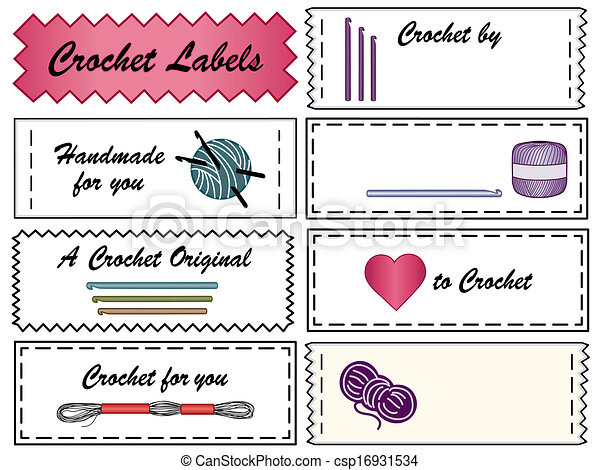 Crochet sewing labels with copy space to customize with your name crochet sewing labels csp16931534 solutioingenieria Image collections