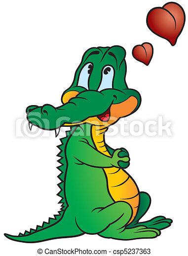 Crocodile amoureux amoureux color illustration crocodile vecteur dessin anim - Dessin anime crocodile ...