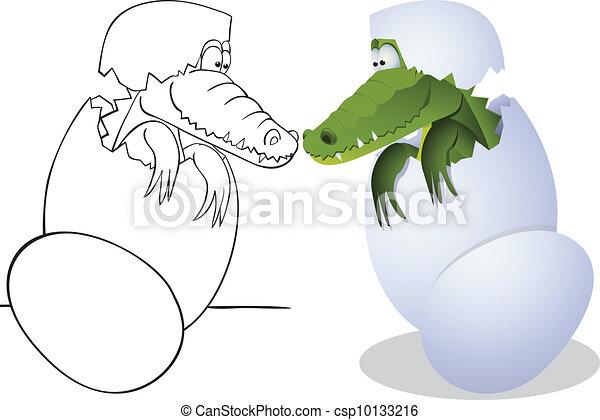 Crocodile and eggs - csp10133216