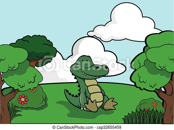 Crocodile and Forest scenery - csp32655459